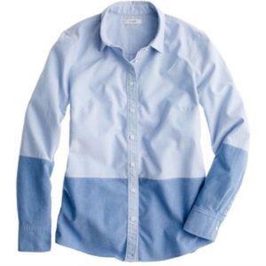J Crew Blue Boy boy shirt in Colorblock Oxford